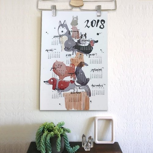2018 dog wall-mounted calendar with hangers