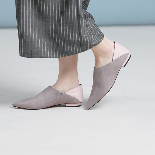 Curved minimal leather soft leather slippers pointed shoes powder