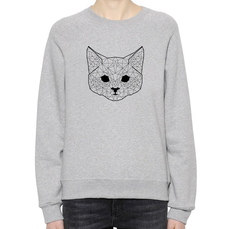 Geometric Cat #2 unisex gray sweatshirt