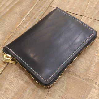 Handmade hand-dyed leather wallet multi-use (free printing, embroidered words)