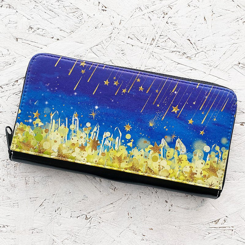 Long Wallet Starry night / coin case / card case / starry sky / star / crystal