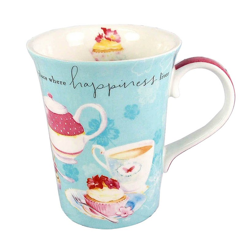 LC bone china water blue mug / home, where happiness is 【Hallmark-Gift】