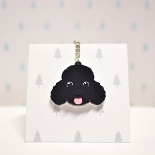 Black poodle - key ring acrylic