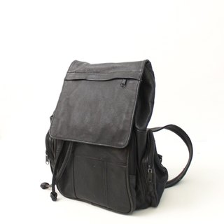 Retro Europe 90s Simple Plain Plain Black Large Capacity Leather Back Backpack Side Back Antique Bag