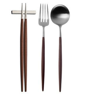 | Cutipol | GOA Brown Matte 3 Pieces Set (Table Spoon/ Fork/ Chopsticks Set)