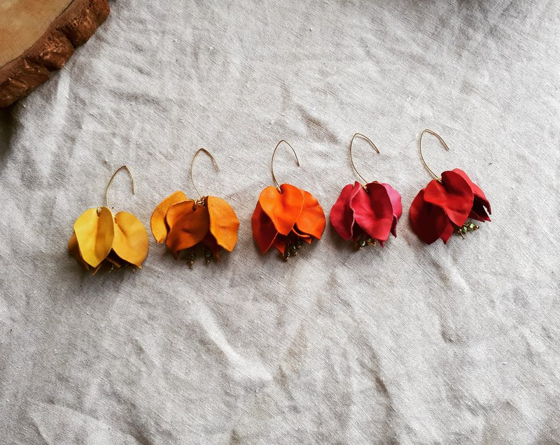 Bougainvillea earrings__leather hand dyed and shaped