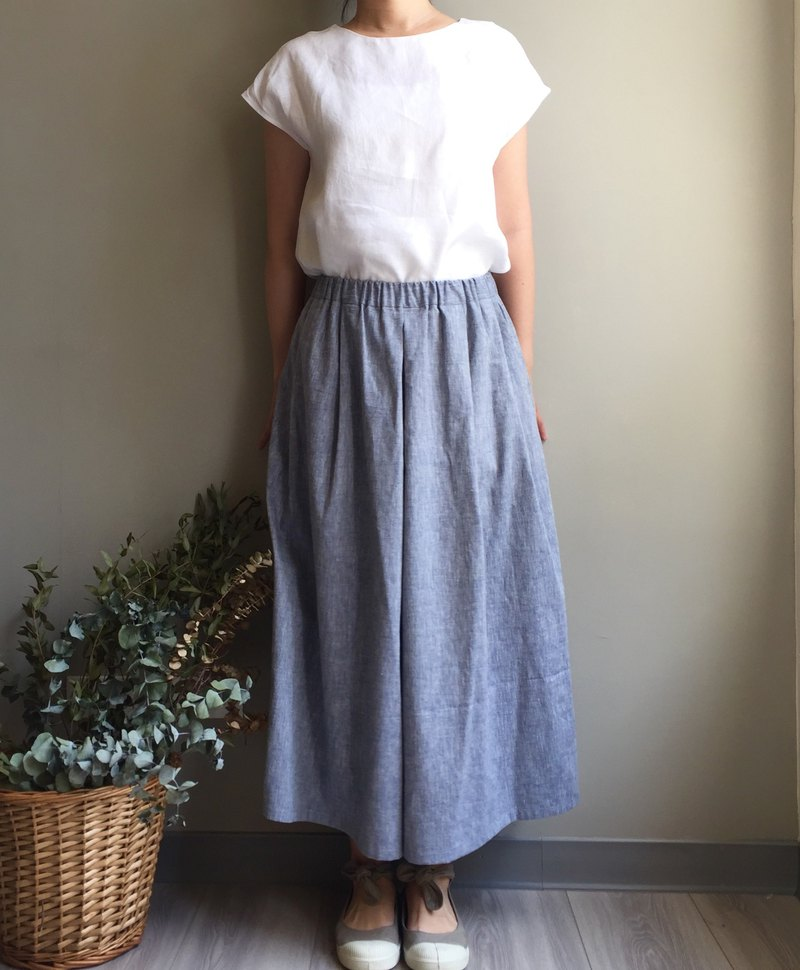 # Chenguang Forest Walk # gray-blue cotton and linen wide version of the trousers fabric used only one