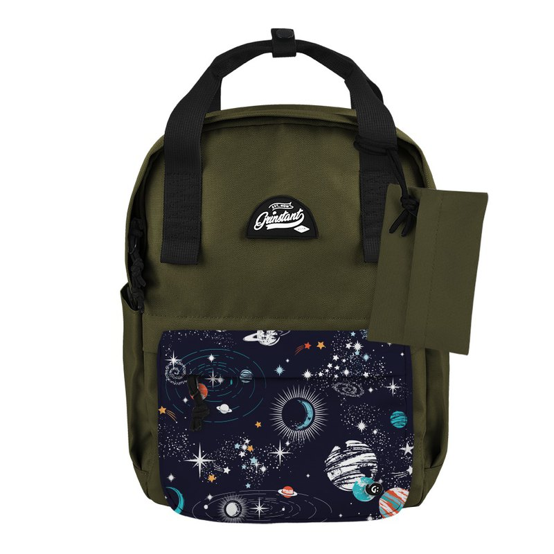 Grinstant mix and match detachable group 13-inch backpack-Adventure Series (Military Green with Planet)