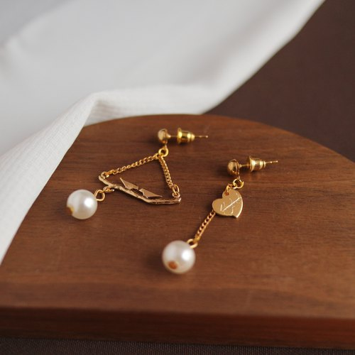 18kgf Irregular bird homing love tag Pearl long earrings dangle drop earrings