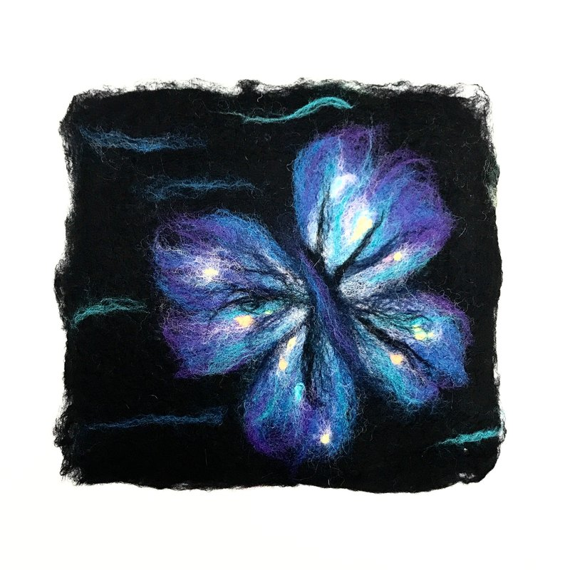 Exchange gifts - wool felt mat - flowers and butterflies - double-sided use
