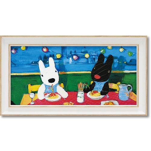 """Lisa and Caspian"" large horizontal frame copy painting - Italian pasta"