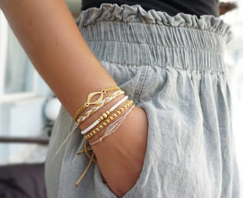 Boho Bracelet Set with Gold Theme, Beach Look, Bestseller