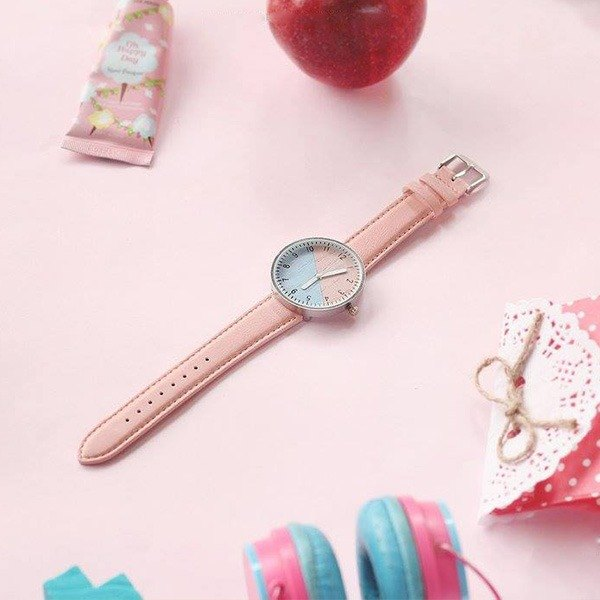 Two-color candy wood handmade watch Pink & Blue