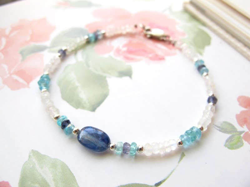 Moonstone x Apatite x Kyanite x 925 Silver [Little Angle Series - Blue]