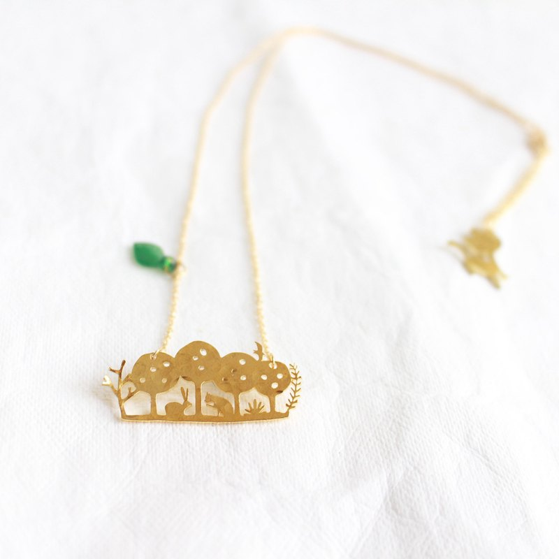 Cat & Rabbit hammered brass golden necklace I Story_Living in Wood