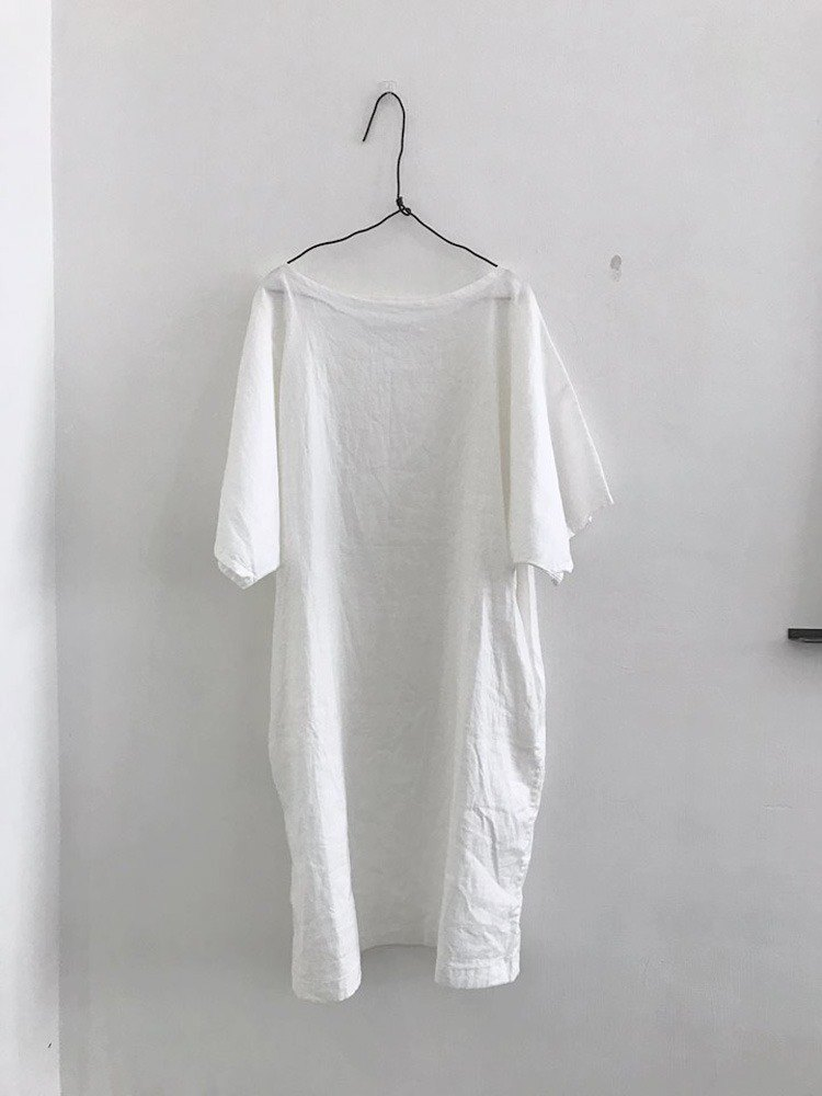 White cotton linen drop shoulder short sleeve dress