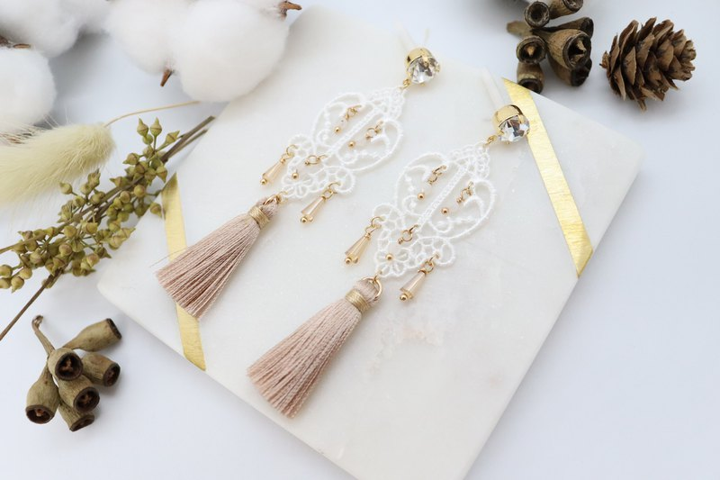 White Lace & Golden Silk Tassels Cubic Zirconia 925 Silver Post Earrings
