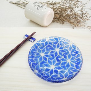 Highlight Also - Kiln Burning Glass Plate / Tile Series - Blue