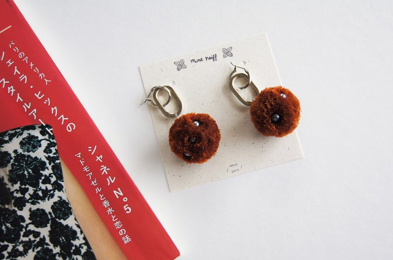 Mint neiff I collection handmade hair ball metal ring earrings caramel brown I wear / clip type