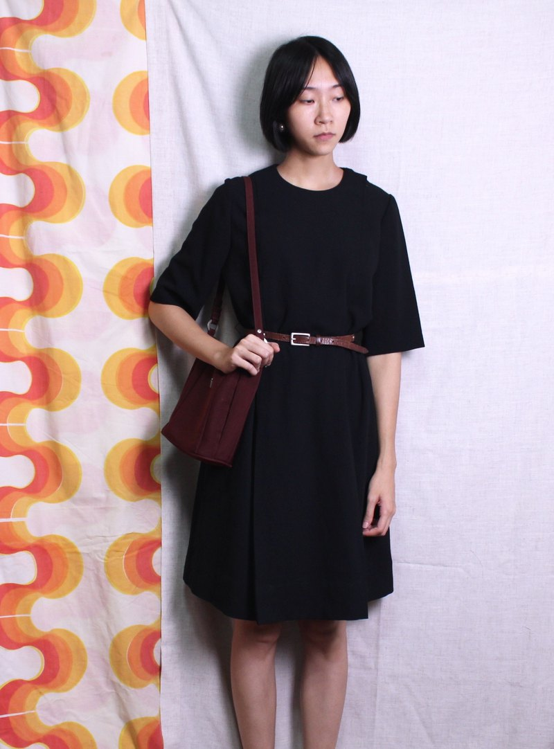 FOAK vintage / black / retro minimalist chiffon dress
