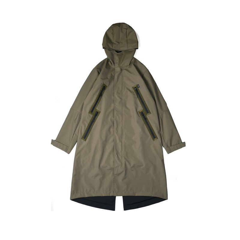 oqLiq-Dualism-Rain-shaped Large Pocket Reversible M51 Long Coat (Army Green / Black)