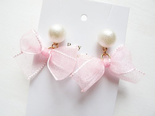 Rosy Garden ribbon with pearl earrings