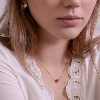 14k Gold-Filled ARGENTINA Necklace with natural Rhodochrosite gemstone