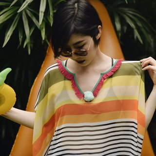 'PAPER' Beach Cover-up / Kaftan / Poncho in   Stripe01 (ONE SIZE)