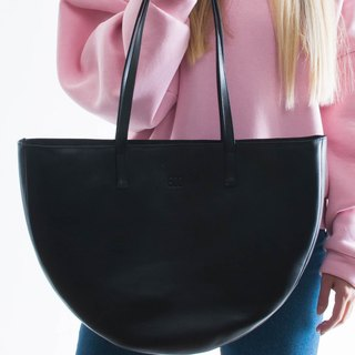 WAVE tote bag black leather