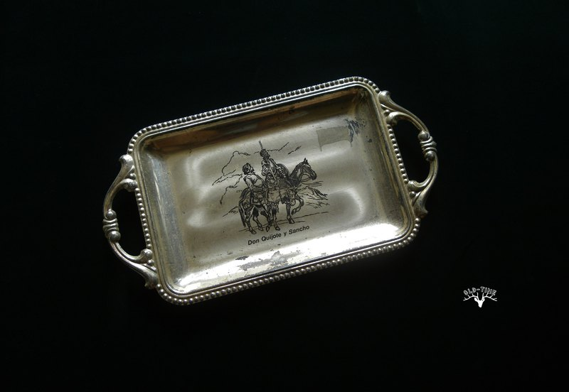 [Old Time OLD-TIME] Early Spanish-made Don Quixote Memorial Tray