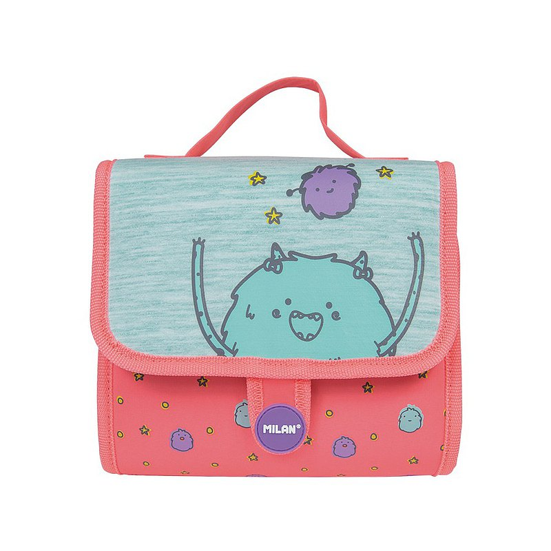 Carrying case with 2 filled pencil cases Mimo, pink