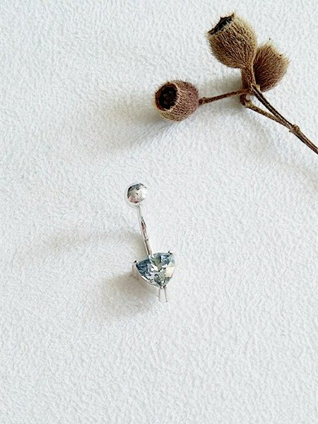 Triangular glass/Blue/Belly ring/Sterling Silver/Swarovski Crystal/By hand【ZHÀO】SZBR1609