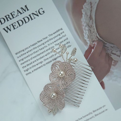 Handmade Bridal Headpiece | French Beaded Double Flower Hair Comb Hair Accessory