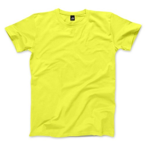 Neutral plain short-sleeved T-shirt - fluorescent yellow