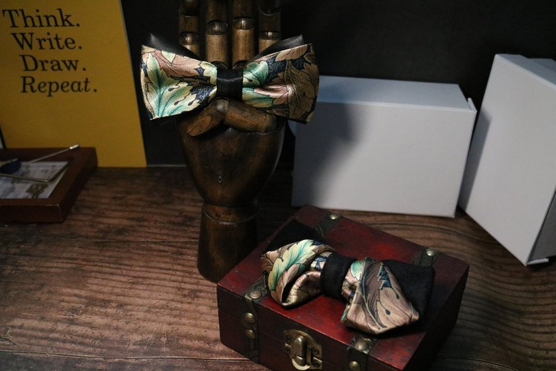 Retro leaf print with silk bow tie fashion British bow