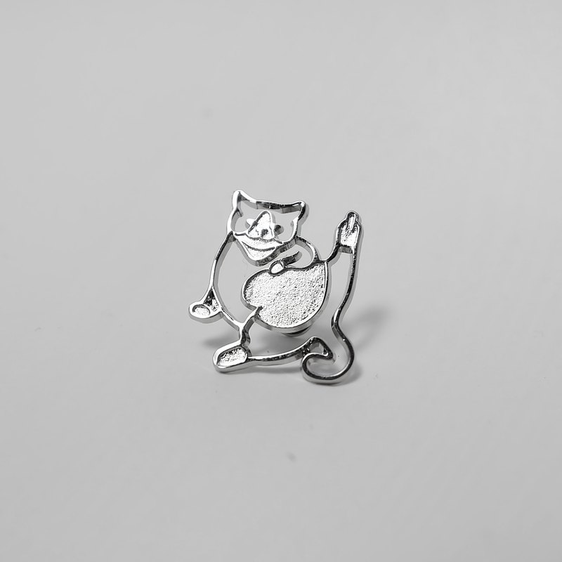 Silver mask cat brooch brooches middle finger salute