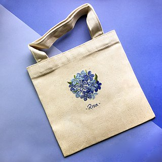 Limited - Handmade Embroidery Eco Bag / A Book Bag / Recording Bag - Blue Snowflake