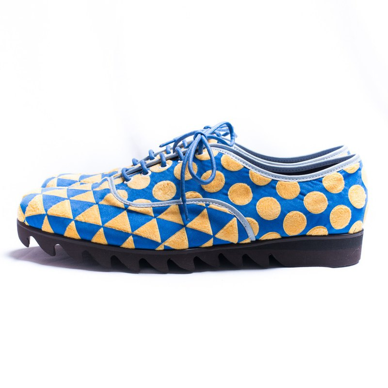 Round&triangle oxfordshoes_blue&yellow