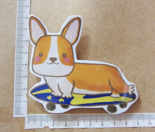 Hand-painted illustration style completely waterproof sticker Corgi skateboarding yellow Corgi