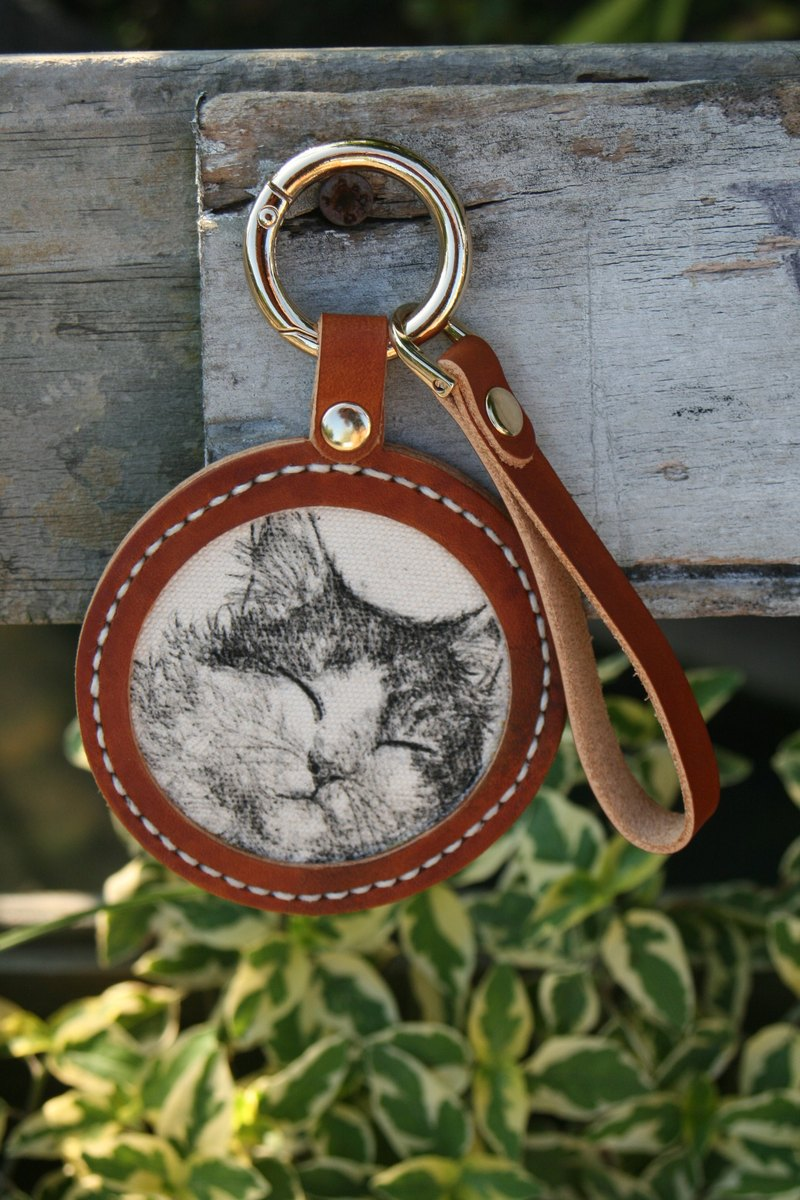 Handmade leather - custom pet sketch key ring - light brown / can be engraved English name