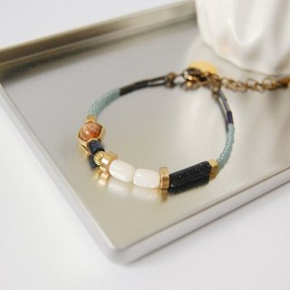 日和 the good day|Blue Pearl Brass Crystal Gemstone Bracelet