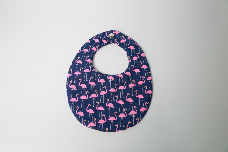 Pu.sozo Cloth hand-made flamingo + color raindrops (blue) double-sided bibs / gauze towels / bibs / handkerchiefs / towel / baby / baby