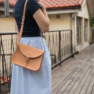 Be Two tanned leather saddle bag / leather side backpack / hand stitched shoulder bag