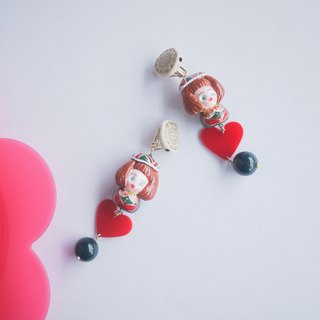 Clay hand made winter girl with love earrings earrings ear clip