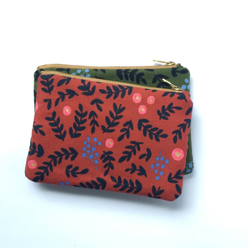Rose Small Zipper Purse • Coin Business Card Pouch, Padded Jewelry Bag