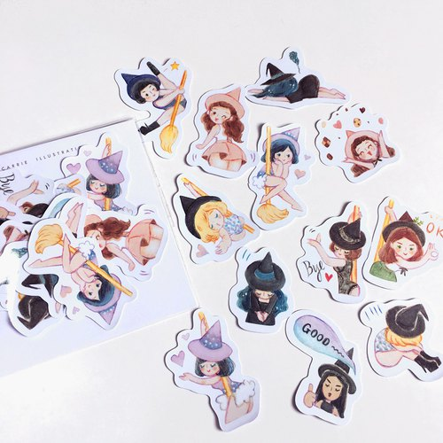 Pole Dance Witches / Waterproof Stickers/ 12pc