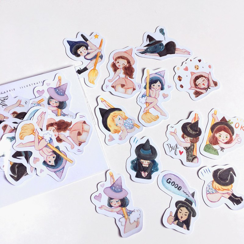 Pole Dance Witches Stickers Pack 12pc