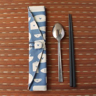 adoubao-chopsticks set cutlery package - blue & cutlery