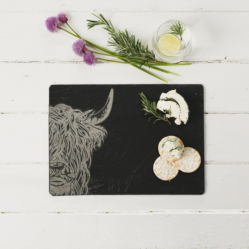 British Selbrae House Natural Black Slate Long Chopping Board / Tray 35cm (Highland Cattle)-Spot