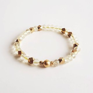 Gemstones• pure natural ore lemon crystal brass bracelet